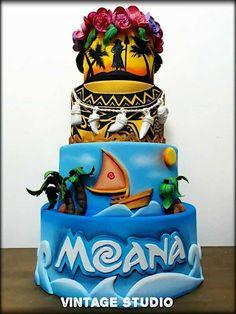 Moana Theme Birthday, Moana Themed Party, Moana Party, 2nd Birthday, Disney Desserts, Disney Cakes, Unique Cakes, Creative Cakes, Festa Moana Baby