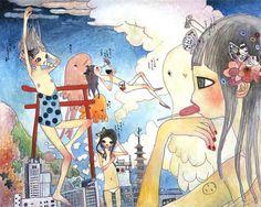 Aya Takano Pretty Art, Cute Art, Japanese Contemporary Art, Japanese Pop Art, Aya Takano, Superflat, Funky Art, Manga Artist, Japanese Artists