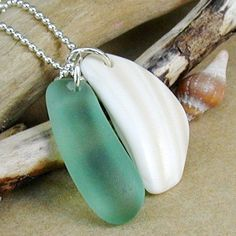 Seaside Charm Bright Sea Foam Green and Shell by newsprout on Etsy, $32.00
