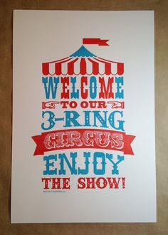 3 Ring Circus Letterpress Art Print by JillyJackDesigns on Etsy, $30.00