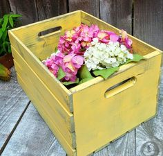 Mellow Yellow Rustic Wood Crate Painted Shabby by HuckleberryVntg