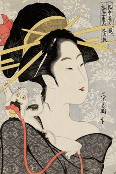 UKIYO-E BY CHOKOSAI EISHO ~ Motozue of the Daimonjiya From series Contest of Beauties of Pleasure Quarters (Kakuchû bijin kurabe) - Edo period (Kansei - Artist Chôkôsai Eishô - Active - Woodblock print (nishiki-e); ink & color on paper Japanese Art Prints, Japanese Drawings, Japanese Cat, Vintage Japanese, Japanese Stamp, Japanese Wife, Art Geisha, Japanese Woodcut, Art Chinois