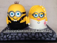 Minions Grooms Cake request, took liberties with the tuxedo overalls!