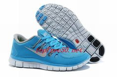 S3SM5Q Blue Glow Gray Nike Free 5.0 Women's Running Shoes