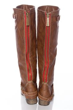 candies brown boots with red zipper   Knee-High Riding Boots with ...