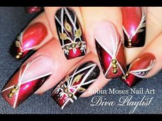 DIY Bronze Striped Diva Nails | Chevron Stripes Nail Art Design Tutorial - YouTube