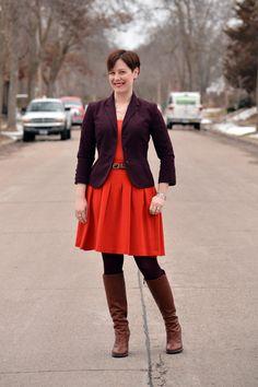 Already Pretty outfit featuring burgundy blazer, orange tank orange full skirt, burgundy tights, cognac BCBGeneration Doris boots