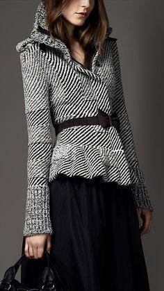 Burberry London Wool Cashmere Peplum Jacket.