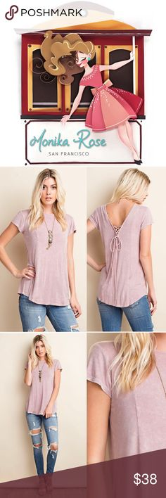 🆕 Soft Mauve Lace Up Back Blouse 💕Details:  * Soft Deep Mauve Light Wash Style * Lace Up Back Detail  * 95% Rayon, 5% Spandex    Modeling size Small.  S: 38in B, 27in L M: 40in B, 28in L L: 42in B, 28in L  •••••••••••••••••••••••••••••••••••••••••••  🙋Hello! I'm Monika. I'm a Boutique Owner & Boutique Coach. Welcome to my closet!   Let's keep in touch 💕 💟Instagram: @monikarosesf 💟YouTube: MonikaRoseSF 💟Snapchat: itsmonikarose Monika Rose SF Tops Blouses