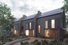 PAD Studio reveals plans for homes on Enfield garage sites Brick Architecture, Residential Architecture, Architecture Details, Habitat Groupé, Mews House, Small Buildings, Types Of Houses, Exterior Design, Townhouse
