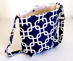 Navy and White Cross Body Bag | Premier Prints Navy Shoulder Bag | Ladies Cross Body Bag by Bags and Purses by Beth, $46.00 USD