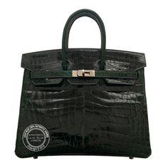 Vert Foncé Birkin in Crocodile with Palladium Lilac Blue London Hermes Bags, Hermes Handbags, Hermes Birkin, Hermes London, Crocodile, Crocs, Lilac, Belt, Wallet