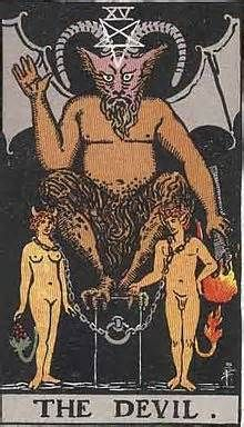 The Devil Tarot Card and Its Meaning Anger, violence, jealousy, greed, deceit, instinct, sexual passion. (this card appears twice for Aidan and James in the premonition scene)