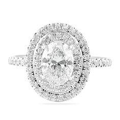 LEPOZZI 1.25 CT OVAL DIAMOND ENGAGEMENT RING with double halo -- Lauren B Jewelry, NY NY