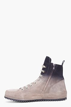 ANN DEMEULEMEESTER Taupe Ombre Suede Sneakers 05d400590a