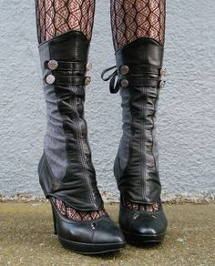 Spats -Leather and Herringbone  with Buttons-Evangeline by EidoL on Etsy https://www.etsy.com/listing/86079058/spats-leather-and-herringbone-with