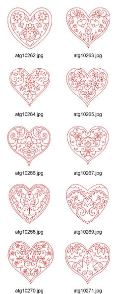 Valentine-Hearts-Redwork Embroidery Designs Artwork by DesignStitch Cross Stitch Embroidery, Embroidery Patterns, Hand Embroidery, Machine Embroidery, Red Work Embroidery, Embroidery Tattoo, Mosaic Patterns, Paper Quilling, Be My Valentine
