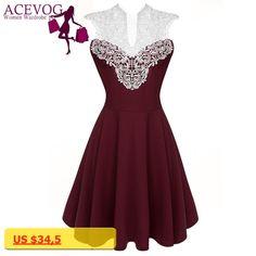 ACEVOG Women Summer Lace Dress Sexy vestidos 2017 Lady Sleeveless Lace Patchwork High Waist Pleated Casual Knee Length Dress