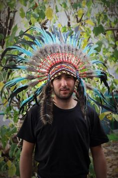 Check out Indian Light Blue / Turquoise  and dark Feather Headdress / Warbonnet. on theworldoffeathers