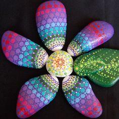 SET~Hand Painted Stones, Flower Power Set of 8, Stacking Stones, Mandala Stones, Flower Stones