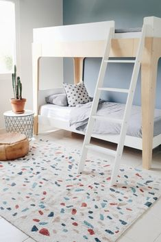 Oeuf Barsch Etagenbetten, Lorena Canals Terrazzo Teppich www. Terrazzo, Lorena Canals Rugs, Ikea Billy Bookcase, Nyc, Ikea Furniture, Blue Walls, Queen Beds, Bunk Beds, House
