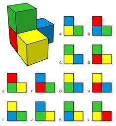 Pirámide de cubos... ¿Cuáles de las vistas representadas son correctas?