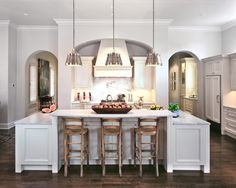 Suzie: Palmer Todd - Sweet kitchen design with silver gray walls paint color, creamy white flat ...