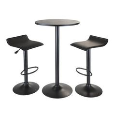 This all Black Pub Table Set comes with a round high table and 2 air lift adjustable stools. The round table is 23.6' in diameter and 39.75' tall.  Table top is made from MDF veneer and the table base and post is metal.  Two adjustable airlift swivel stools with their black faux leather are a great compliment and comfortable to sit on. The seat height is adjustable between 22.6' to 30.75'.  Overall stool at highest position is 15.1'W x and 15.1'D x 33.3'H and lowes...