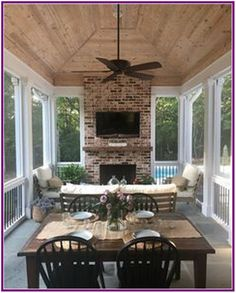 Design A Patio with Fireplace and Screened Porch . Design A Patio with Fireplace and Screened Porch . Patio Screen Partitions for An Absolutely Gorgeous Deck Enclosed Porches, Screened In Porch, Front Porch, Pool Porch, Porch Roof, Porch Fireplace, Brick Fireplaces, Deck With Fireplace, Fireplace In Dining Room