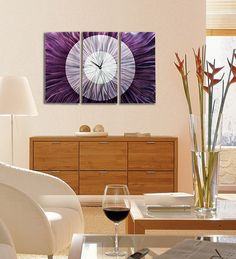 Large Contemporary Hanging Wall Clock in Gold Copper Tones