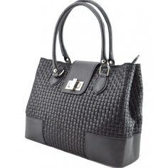 Italian Made, Genuine Leather Handbag - Sandra Black Sky How To Make Handbags, Leather Handbags, Italy, Sky, Black, Fashion, Heaven, Moda, Leather Totes