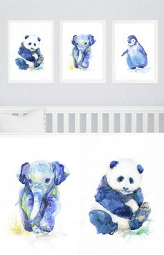 Boy Nursery Decor Baby Animals Nursery Set of 3 prints Watercolor painting, Blue Nursery Art Watercolour Print, New Baby Gift, three prints Set of 3 prints- high quality fine art prints of my original watercolor painting. It is the work of a watercolor series Portraits of the Heart Size
