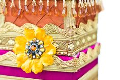Hot pink, yellow, orange, and gold East Indian wedding card box