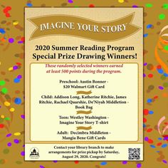SUMMER READING PROGRAM PRIZE WINNERS: Please contact your library branch to initiate arrangements for pickup so the prizes can be sent to your library. You should have also received an email through READsquared. Congratulations!  🏆🎉 #SRP2020 #ImagineYourStory