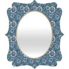 Caroline Okun Camelia Organica Quatrefoil Mirror #blue #flower #pattern