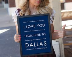 Remember your favorite things to do in Dallas Texas with a personalized art print. Choose your size and background color. Framed and canvas prints are available!   Dallas Texas Art Print, I Love You From Here To DALLAS, Shown in Navy Blue, Free U.S. Shipping by hopskipjumppaper. Explore more products on http://hopskipjumppaper.etsy.com
