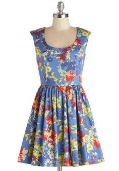 Next Stop, Sacramento Dress - Multi, Floral, Casual, A-line, Good, Scoop, Cotton, Woven, Short, Blue, Cap Sleeves, Spring