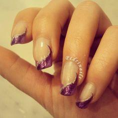 Purple diagonal french manicure  #nails #nailart #frenchmanicure #nailpolish #naillacquer #waves #glitter #liner #silver