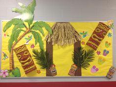 """Reading Shore is Fun"" bulletin board Tiki Hut! Luau Theme, Hawaiian Theme, Hawaiian Luau, Beach Bulletin Boards, Preschool Bulletin Boards, Lua Party Ideas, Afro, School Displays, Classroom Themes"