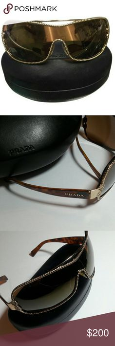 PRADA Velvet Rope & Brown Rectangular Sunglasses PRADA SPR 62H VELVET Rope & Golden Brown Rectangular Sunglasses. PRELOVED with light scratches on lens. Comes with PRADA Case. Had these for some time sitting unused. Ready for these to be Loved and used by their new Owner. AUTHENTIC ONLY. NO TRADES. TIA. Prada Accessories Glasses
