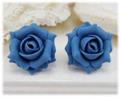 Cornflower Blue Rose Stud Earrings & Clip On Earrings Flower Earrings, Clip On Earrings, Stud Earrings, Rose Jewelry, Jewellery, Rose Shop, Polymer Clay Flowers, Blue Flowers, Ear Piercings