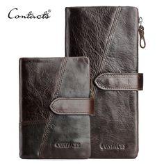 CONTACT'S 정품 미친 말 소 가죽 남성 지갑 패션 지갑 카드 홀더 빈티지 긴 지갑 클러치 손목 가방