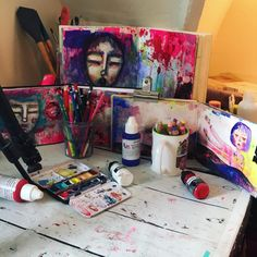 Arranged my desk to look pretty for some filming today. Bit nervous  (currently at the essential part in the creative process where I'm getting distracted on social media )  #irisimpressionsart How To Look Pretty, That Look, The Essential, Mixed Media Artists, Insta Art, Iris, Social Media, Desk, Creative