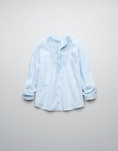 LOOSE BLOUSE WITH AIDA CLOTH BIB FRONT - Shirts - Girl (2-14 years) - Kids - ZARA United Kingdom