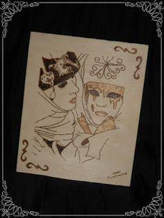 Pirograbado en madera, máscaras de carnaval veneciano...