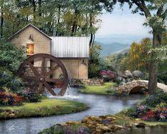 Old Mill – 8 x 10 landscape architectural art painting print – Red Creek original art. Landscape Drawings, Landscape Art, Landscape Paintings, Landscape Design, Peintures Bob Ross, Dm Foto, Art Halloween, Bob Ross Paintings, Painting Prints