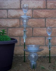 Glass garden totems as candle holders