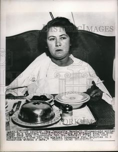 Im noticing the hospital food tray... real decorative china kept warm by silver food dome!  1949 Media Photo Mrs. Jeannette Marshall, Writer in Hospital After Fight