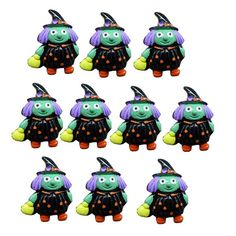 10pcs Witch W/ Broom Haunted For Halloween by TheButtonSisters