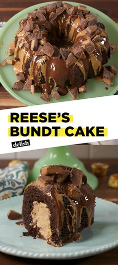 This bundt cake is like a Reese's explosion. Get the recipe at Delish.com. #recipe #easyrecipe #cake #baking #dessert #chocolate #peanutbutter #sweet #reeses #candy